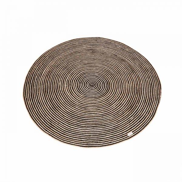 Een rond vloerkleed met zwart katoen en jute