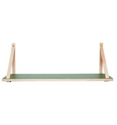 Hangplank met groene top van hout en lederen hanger van Hubsch