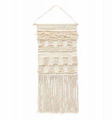 Wandkleed katoen met een fijn patroon in off white