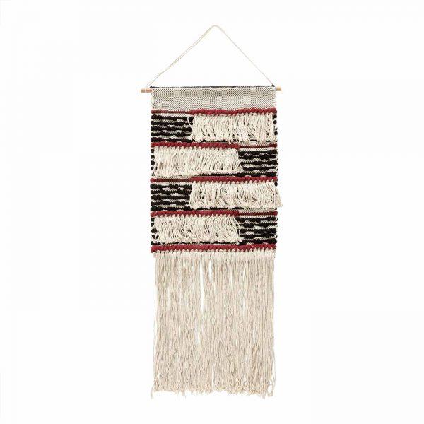 Wandkleed katoen met stoer patroon rood accenten
