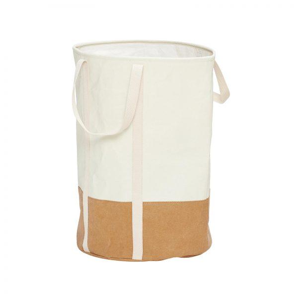 Wasmand van wasbaar papier bruin wit Hubsch
