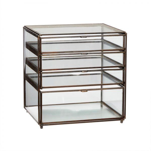 Bureaulade van glas met 4 lades HKliving Hubsch