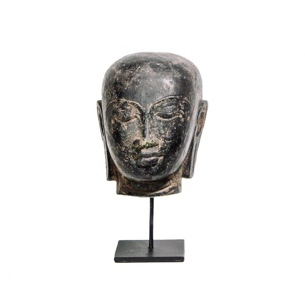 Buddha hoofd steen op statief zwart bruin
